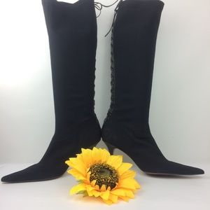 Vintage Black Sock Boots with Lace Up Gothic.